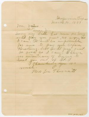 Primary view of object titled '[Letter from Mrs. Lee Threatt to Earl Yates, Sr., March 14, 1939]'.