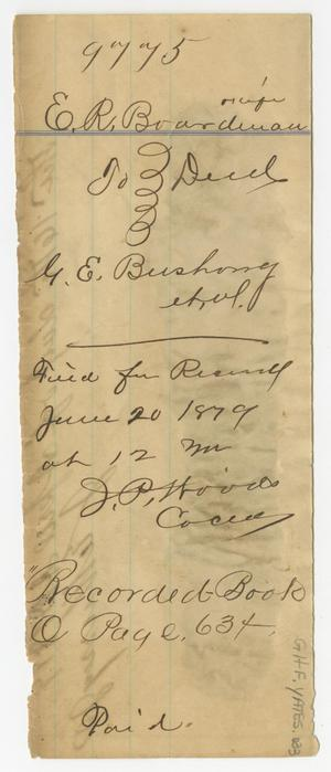 Primary view of object titled '[Land Deed from E. R. Boardman to G. E. Bushong, June 20, 1879]'.