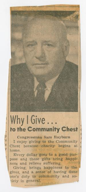 Primary view of object titled '[Newspaper Clipping: Why I Give...to the Community Chest]'.