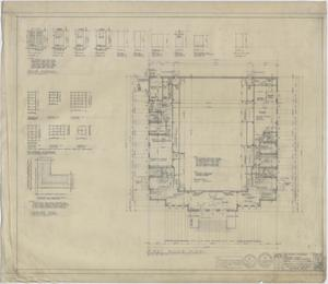 Primary view of object titled 'High School Gymnasium, Ozona, Texas: First Floor Plan'.