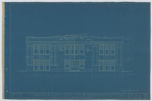 Primary view of object titled 'School Building/Auditorium, Oplin, Texas: Front Elevation'.