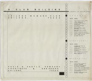 Primary view of object titled 'Abilene Womans Club Building, Abilene, Texas: Index to Drawings'.