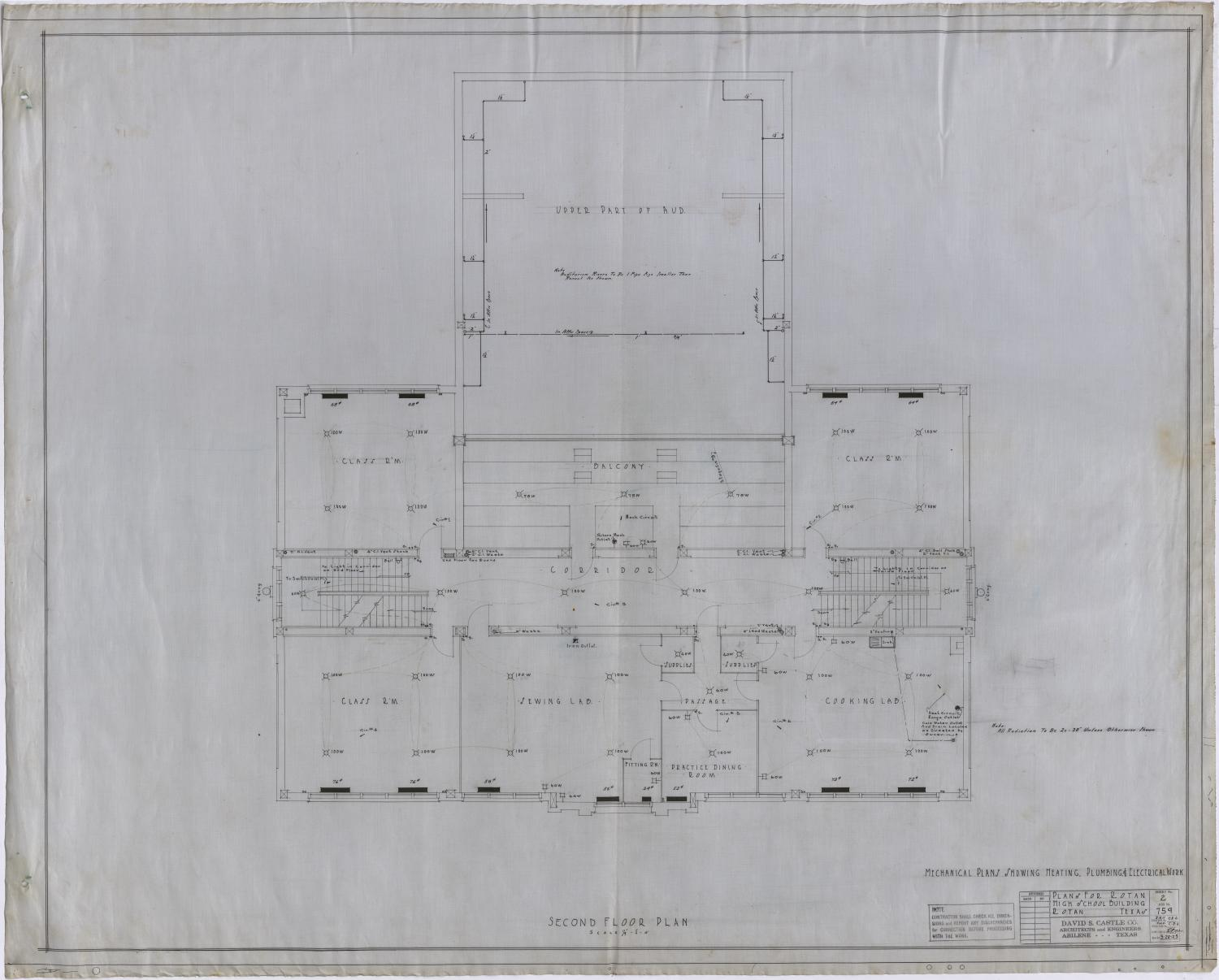 High School Building, Rotan, Texas: Second Floor Mechanical Plan                                                                                                      [Sequence #]: 1 of 2