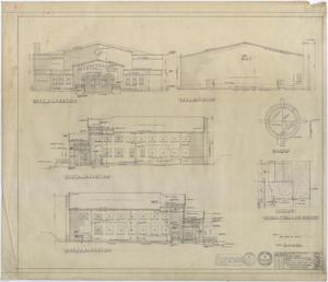 Primary view of object titled 'High School Gymnasium, Ozona, Texas: Elevations'.