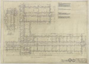 Primary view of object titled 'High School Building, Pecos, Texas: Foundation and Floor Framing Plan'.