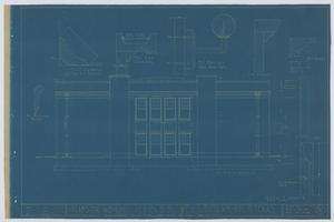 Primary view of object titled 'School Building/Auditorium, Oplin, Texas: Rear Elevation'.
