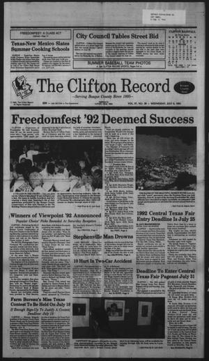 Primary view of object titled 'The Clifton Record (Clifton, Tex.), Vol. 97, No. 28, Ed. 1 Wednesday, July 8, 1992'.