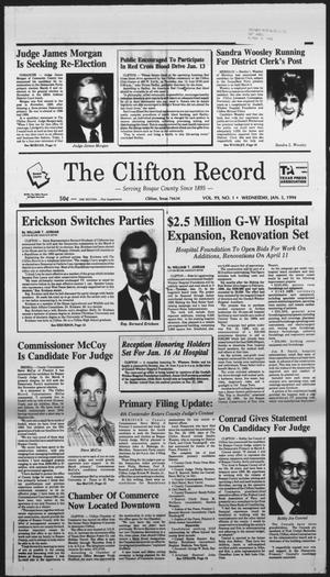 Primary view of object titled 'The Clifton Record (Clifton, Tex.), Vol. 99, No. 1, Ed. 1 Wednesday, January 5, 1994'.