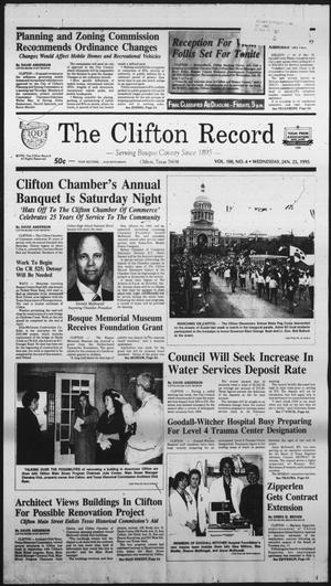 Primary view of object titled 'The Clifton Record (Clifton, Tex.), Vol. 100, No. 4, Ed. 1 Wednesday, January 25, 1995'.