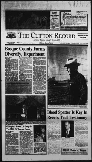 Primary view of object titled 'The Clifton Record (Clifton, Tex.), Vol. 101, No. 8, Ed. 1 Wednesday, January 31, 1996'.