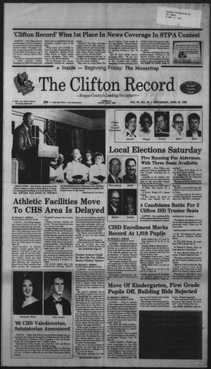 Primary view of object titled 'The Clifton Record (Clifton, Tex.), Vol. 97, No. 18, Ed. 1 Wednesday, April 29, 1992'.