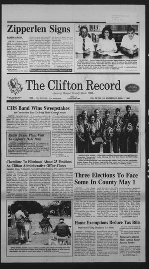 Primary view of object titled 'The Clifton Record (Clifton, Tex.), Vol. 98, No. 14, Ed. 1 Wednesday, April 7, 1993'.