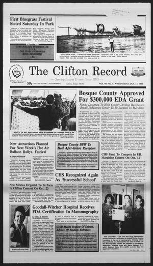 Primary view of object titled 'The Clifton Record (Clifton, Tex.), Vol. 99, No. 41, Ed. 1 Wednesday, October 12, 1994'.