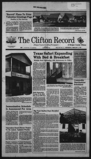 Primary view of object titled 'The Clifton Record and Bosque County Tribune (Clifton, Tex.), Vol. 96, No. 6, Ed. 1 Wednesday, February 6, 1991'.