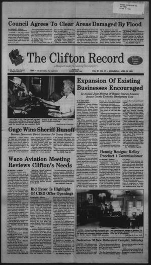 Primary view of object titled 'The Clifton Record (Clifton, Tex.), Vol. 97, No. 17, Ed. 1 Wednesday, April 22, 1992'.