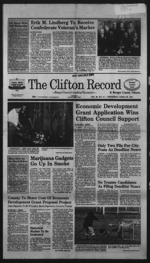 Primary view of object titled 'The Clifton Record (Clifton, Tex.), Vol. 96, No. 12, Ed. 1 Wednesday, March 20, 1991'.