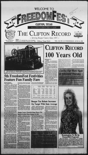 Primary view of object titled 'The Clifton Record (Clifton, Tex.), Vol. 100, No. 25, Ed. 1 Wednesday, June 21, 1995'.