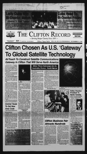 Primary view of object titled 'The Clifton Record (Clifton, Tex.), Vol. 101, No. 90, Ed. 1 Wednesday, November 13, 1996'.