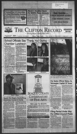 Primary view of object titled 'The Clifton Record (Clifton, Tex.), Vol. 102, No. 15, Ed. 1 Wednesday, February 19, 1997'.
