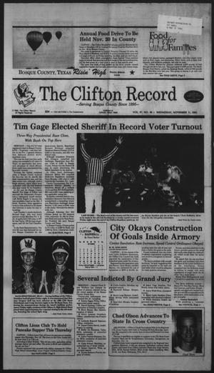 Primary view of object titled 'The Clifton Record (Clifton, Tex.), Vol. 97, No. 46, Ed. 1 Wednesday, November 11, 1992'.