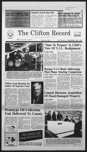 Primary view of object titled 'The Clifton Record (Clifton, Tex.), Vol. 99, No. 6, Ed. 1 Wednesday, February 9, 1994'.