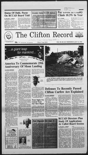 Primary view of object titled 'The Clifton Record (Clifton, Tex.), Vol. 99, No. 28, Ed. 1 Wednesday, July 13, 1994'.