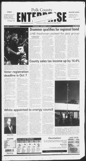 Primary view of object titled 'Polk County Enterprise (Livingston, Tex.), Vol. 131, No. 64, Ed. 1 Thursday, October 3, 2013'.