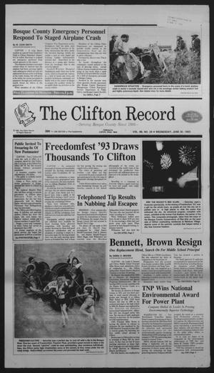 Primary view of object titled 'The Clifton Record (Clifton, Tex.), Vol. 98, No. 26, Ed. 1 Wednesday, June 30, 1993'.