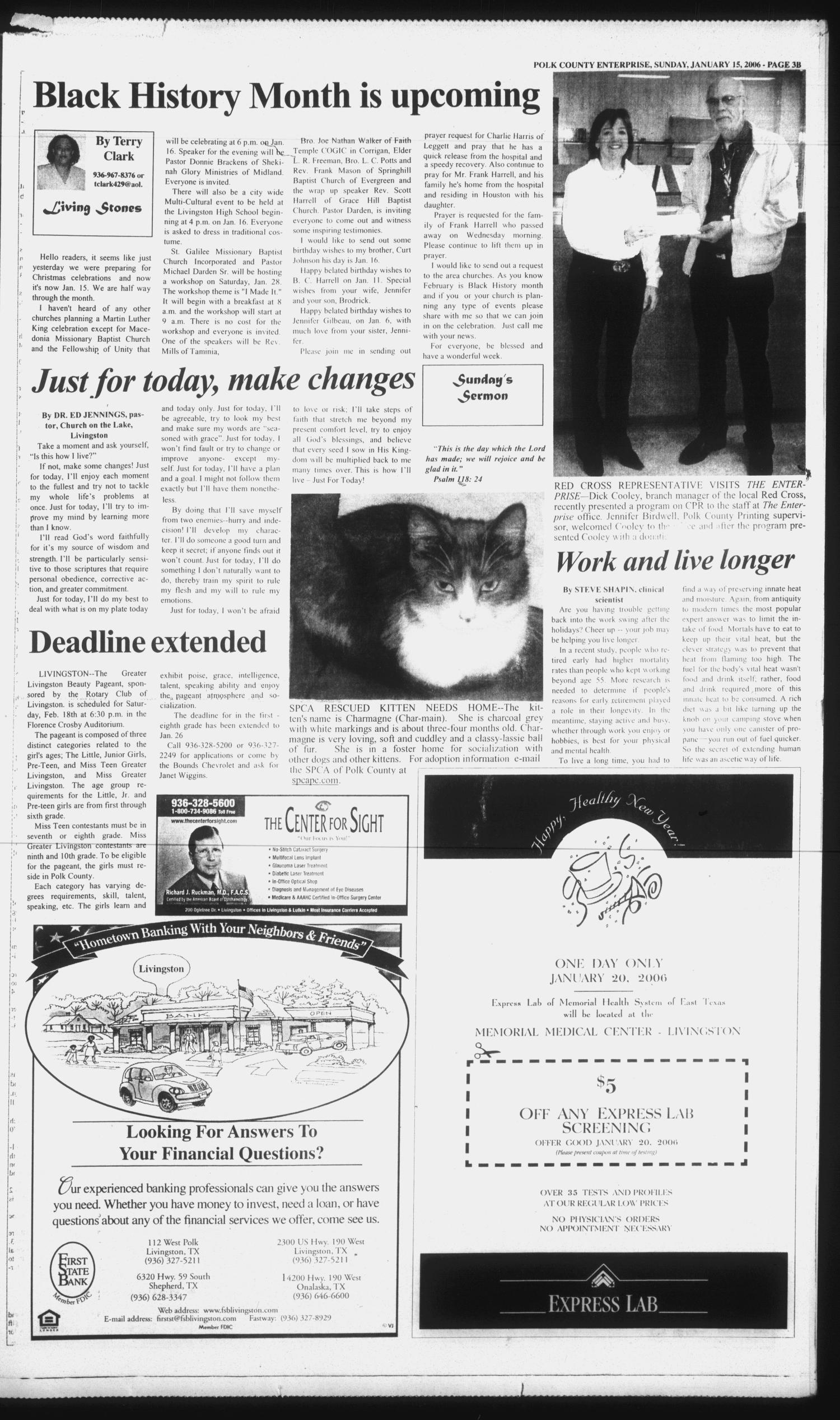 Polk County Enterprise (Livingston, Tex.), Vol. 124, No. 5, Ed. 1 Sunday, January 15, 2006                                                                                                      [Sequence #]: 15 of 60