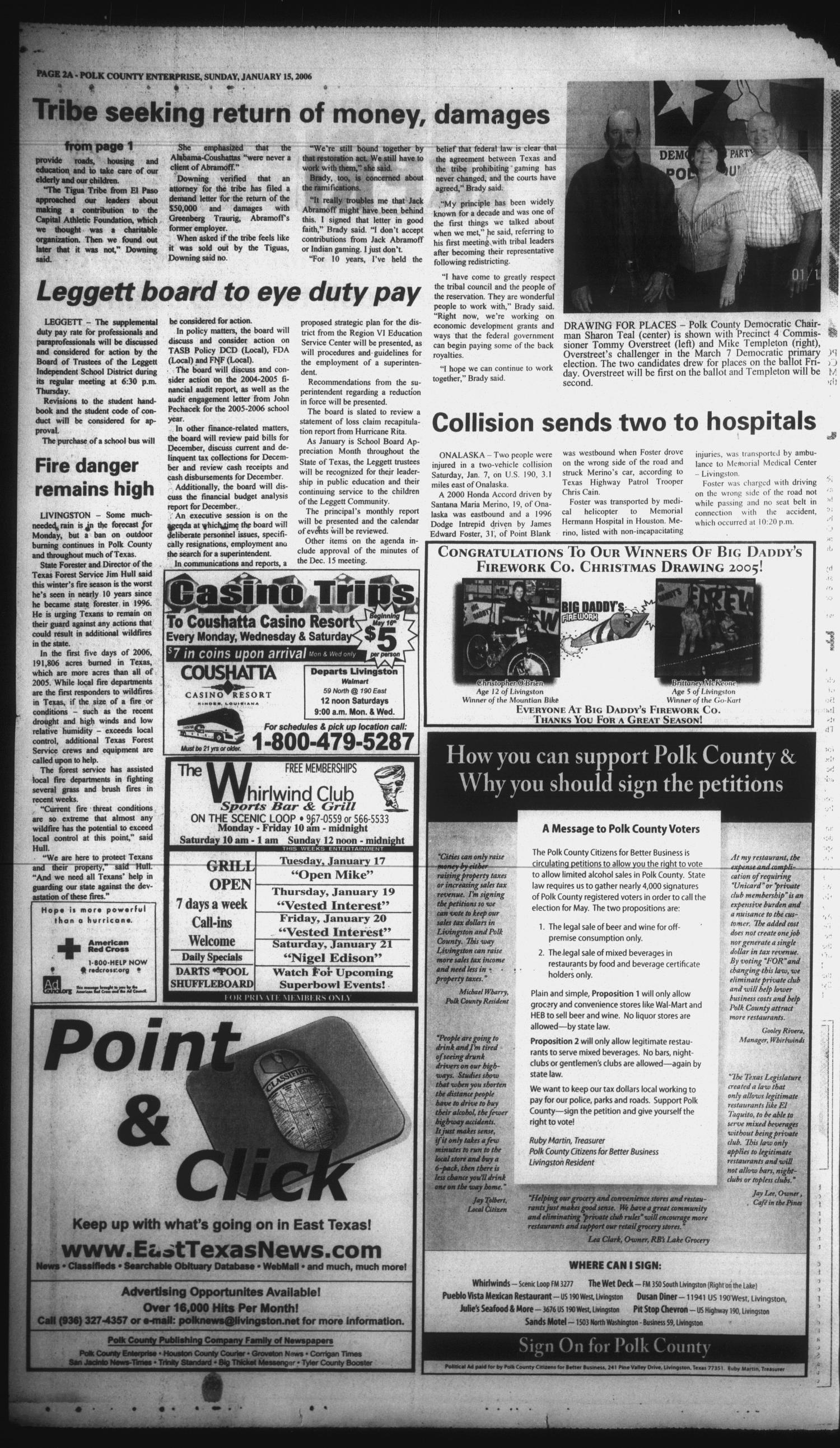 Polk County Enterprise (Livingston, Tex.), Vol. 124, No. 5, Ed. 1 Sunday, January 15, 2006                                                                                                      [Sequence #]: 2 of 60