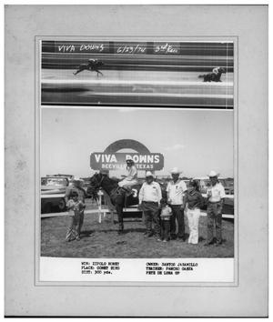Primary view of object titled 'Santos Jaramillo at Viva Downs, Beeville, Texas 1974'.