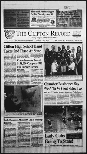 Primary view of object titled 'The Clifton Record (Clifton, Tex.), Vol. 100, No. 46, Ed. 1 Wednesday, November 15, 1995'.
