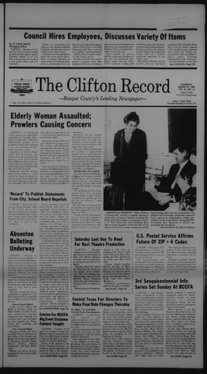 Primary view of object titled 'The Clifton Record (Clifton, Tex.), Vol. 91, No. 12, Ed. 1 Thursday, March 20, 1986'.