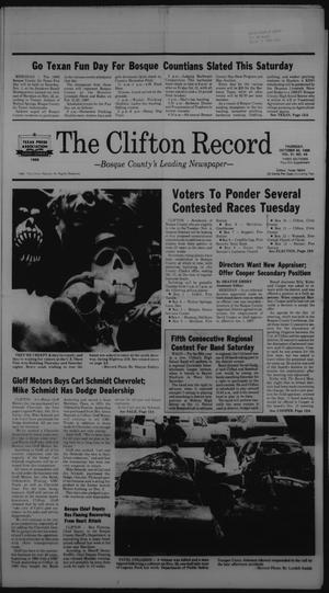 Primary view of object titled 'The Clifton Record (Clifton, Tex.), Vol. 91, No. 44, Ed. 1 Thursday, October 30, 1986'.