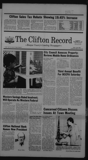 Primary view of object titled 'The Clifton Record (Clifton, Tex.), Vol. 91, No. 38, Ed. 1 Thursday, September 18, 1986'.