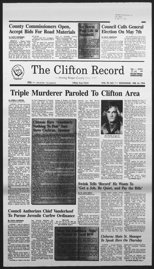 Primary view of object titled 'The Clifton Record (Clifton, Tex.), Vol. 99, No. 7, Ed. 1 Wednesday, February 16, 1994'.