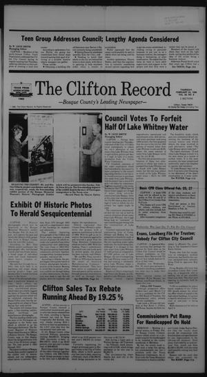Primary view of object titled 'The Clifton Record (Clifton, Tex.), Vol. 92, No. 8, Ed. 1 Thursday, February 20, 1986'.