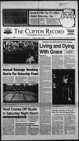 Primary view of object titled 'The Clifton Record (Clifton, Tex.), Vol. 101, No. 95, Ed. 1 Friday, November 29, 1996'.