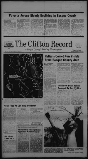 Primary view of object titled 'The Clifton Record (Clifton, Tex.), Vol. 91, No. 1, Ed. 1 Thursday, January 2, 1986'.