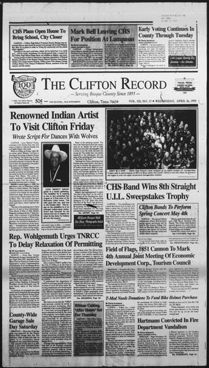 Primary view of object titled 'The Clifton Record (Clifton, Tex.), Vol. 100, No. 17, Ed. 1 Wednesday, April 26, 1995'.