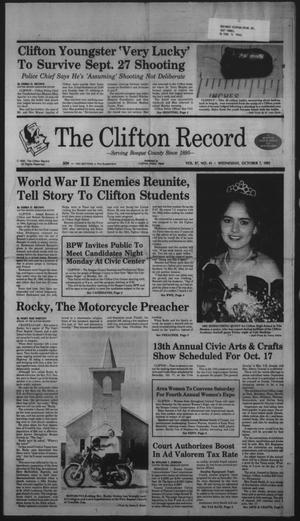 Primary view of object titled 'The Clifton Record (Clifton, Tex.), Vol. 97, No. 41, Ed. 1 Wednesday, October 7, 1992'.