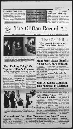 Primary view of object titled 'The Clifton Record (Clifton, Tex.), Vol. 99, No. 8, Ed. 1 Wednesday, February 23, 1994'.