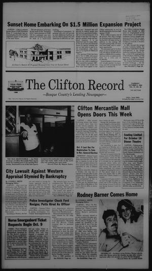 Primary view of object titled 'The Clifton Record (Clifton, Tex.), Vol. 91, No. 40, Ed. 1 Thursday, October 2, 1986'.