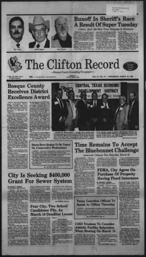 Primary view of object titled 'The Clifton Record (Clifton, Tex.), Vol. 97, No. 12, Ed. 1 Wednesday, March 18, 1992'.