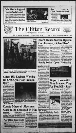 Primary view of object titled 'The Clifton Record (Clifton, Tex.), Vol. 100, No. 9, Ed. 1 Wednesday, March 1, 1995'.