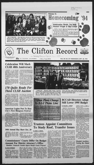 Primary view of object titled 'The Clifton Record (Clifton, Tex.), Vol. 99, No. 39, Ed. 1 Wednesday, September 28, 1994'.