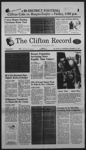Primary view of object titled 'The Clifton Record (Clifton, Tex.), Vol. 98, No. 44, Ed. 1 Wednesday, November 10, 1993'.