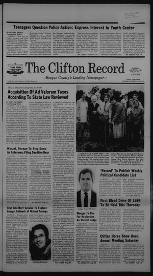Primary view of object titled 'The Clifton Record (Clifton, Tex.), Vol. 91, No. 4, Ed. 1 Thursday, January 23, 1986'.