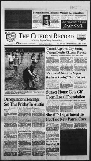 Primary view of object titled 'The Clifton Record (Clifton, Tex.), Vol. 100, No. 16, Ed. 1 Wednesday, April 19, 1995'.