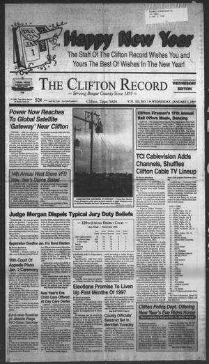 Primary view of object titled 'The Clifton Record (Clifton, Tex.), Vol. 102, No. 1, Ed. 1 Wednesday, January 1, 1997'.
